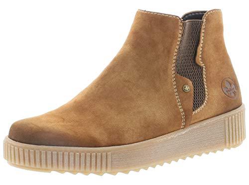 Rieker Damen Stiefeletten Y6461, Frauen Chelsea Boots, Stiefel halbstiefel Schlupfstiefel gefüttert Winterstiefeletten,REH,41 EU / 7.5 UK