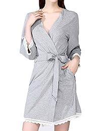 35ef4d4229 Womens Lace Kimono Lady Albornoces Camisón Con Cuello En V Túnicas Boda De Algodón  Waffle Bata