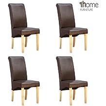 Chaise cuir marron et bois for Chaises salle manger cuir dossier haut