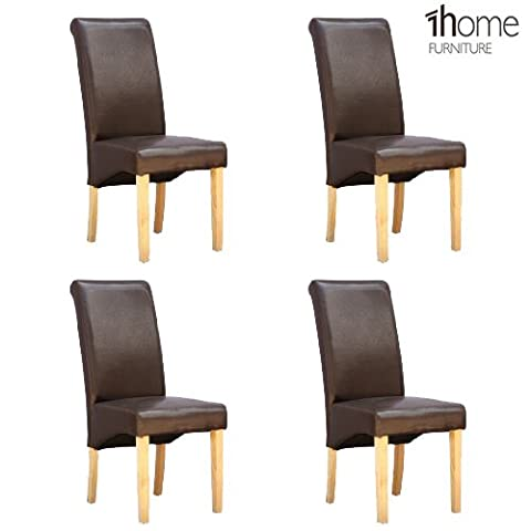 4 x 1home Leather Brown Dining Chair w Oak Finish Wood Legs Roll Top High Back
