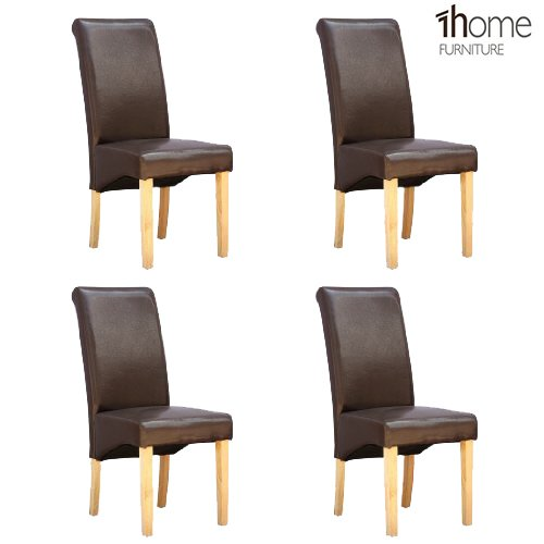 1home 4 x Leather Brown Dining Chair w Oak Finish Wood Legs Roll Top High Back