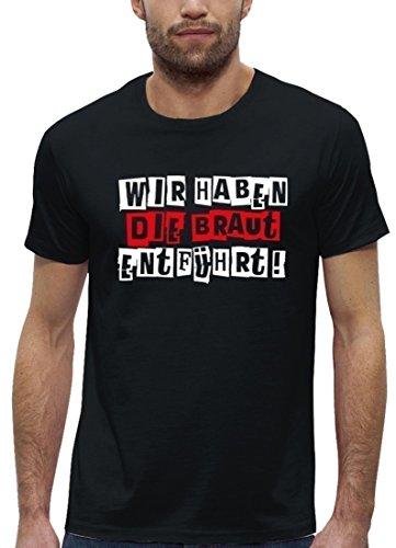 Premium Herren T-Shirt aus Bio Baumwolle JGA 31 WIR HABEN DIE BRAUT ENTFÜHRT! Stanley Stella Black