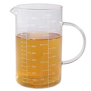 Messbecher, [Isolierter Griff, V-förmiger Auslauf], 77L Hoher Borosilikatglas Messbecher für Küche oder Restaurant, leicht zu lesen, 1000 ml (1 Liter, 4 Tassen)