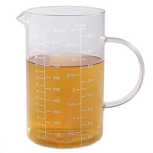 77L Vaso medidor, Taza de medición de cristal [manija aislada, canalón en forma de V], taza de medición...