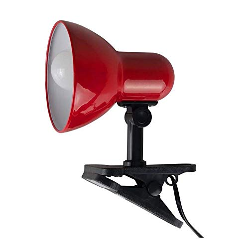 Deckenleuchten Lampen Kronleuchter Pendelleuchten Rot und Glänzend Schwarz Verstellbare Mini Metall Tischklemme Clip on Desk Spotlight Lampe - Komplett mit 6W Led R63-Reflektorlampe [6500K Cool White