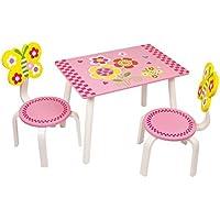 """Tisch-Set """"Leonor"""" aus bunt lackiertem Holz, mit supersüßen Schmetterlings- und Blumenmotiven, ein Hingucker in jedem Kinderzimmer, in für Kinder idealer Sitzhöhe von 24 cm preisvergleich bei kinderzimmerdekopreise.eu"""
