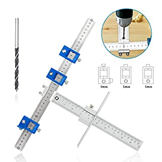 IsEasy Cabinet Hardware Jig, Punch Locator with Stainless Steel Drill Guide Sleeve Cabinet Hardware Template Measuring Tool with The 5mm Drilling Bit for Handles Knobs Installation
