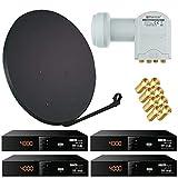 Bundle by netshop 25 Sat Anlage 80 cm Spiegel + 4 Stück HD Sat Receiver + Quad LNB Opticum = 4 Teilnehmer (3 Farben wählbar)