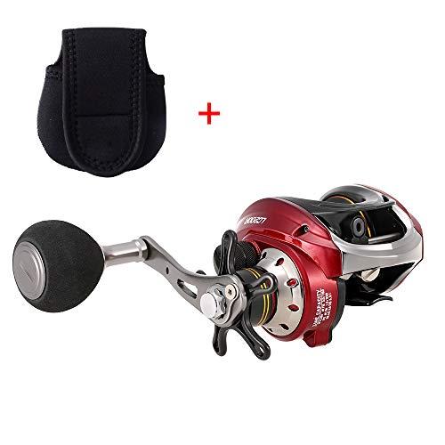 Lixada Carrete de Pesca 10 + 1 Rodamientos de Bolas 6.3: 1 Engranaje Rati Ligero Metal Liso Baitcasting Carrete para Pesca en el Hielo