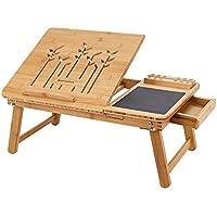 SONGMICS Mesa Plegable de Bambú Natural Tableta Ajustable con Almohadilla de Ratón Cajoncito 55 x 35 x 23 cm LLD006