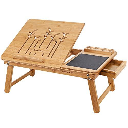 SONGMICS Table d'Ordinateur Pliable Support d'Ordinateur Bambou Naturel Tablette Réglable Encoche pour Portable et Tiroir 55 x 35 x 23cm LLD006