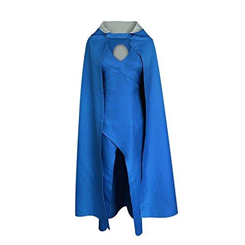 Daenerys Kostüm Ostern Blaues Kleid Mit Kapuze Umhang Für Frauen (XL, - Khaleesi Kostüm Blau Kleid
