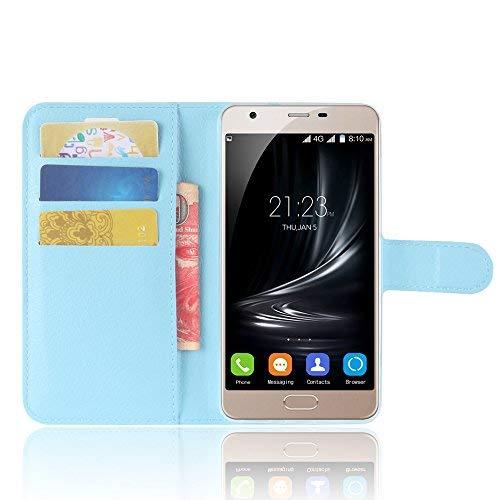 SMTR Blackview A7 Wallet Tasche Hülle - Ledertasche im Bookstyle in Blau - [Ultra Slim][Card Slot][Handyhülle] Flip Wallet Case Etui für Blackview A7
