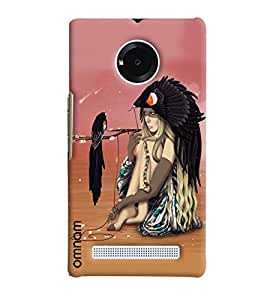 Omnam Girl With Bird Sitting Printed Designer Back Cover Case For Micromax Yunique