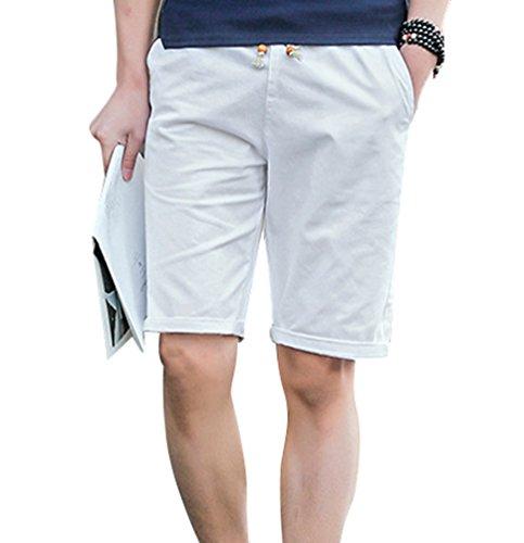 Yuanu Herren Sommer Thin Reine Farbe Strandshorts Mit Taschen, Großformat Casual Kordelzug Fünfte Hosen Reithose Weiß 5XL