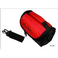 Crimson Red & Black Carry Case Bag for Panasonic HC-V100 HD Camcorder