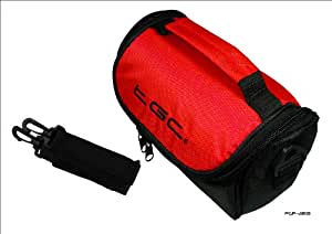 Crimson Red & Black Carry Case Bag for JVC Full HD Everio GZ-E15BEK Camcorder