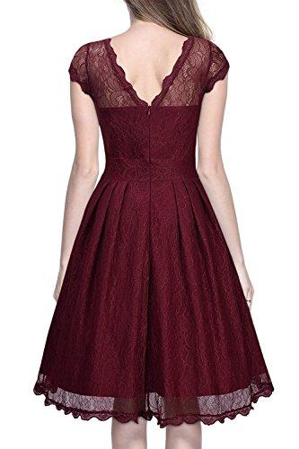 Babyonline® Elegant Damen Kleider Spitzenkleid Cocktailkleid Swing Knielanges Vintage 50er Jahr hochzeit Party Lila Rot