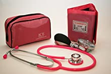 Aneroid Pink Sphygmomanometer With 1 Adult Cuff and Pink Stethoscope - Blood Pressure Monitor Kit by ICE Medical