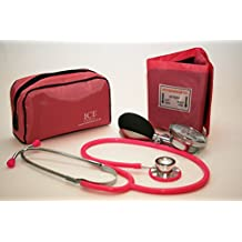Aneroid Pink Sphygmomanometer With 1 Adult Cuff and Pink Stethoscope - Blood Pressure Monitor Kit by