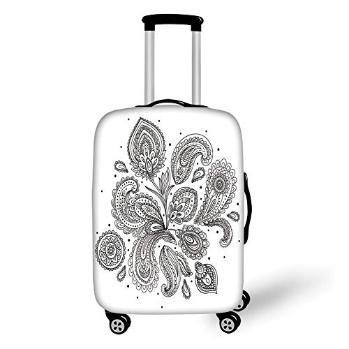Travel Luggage Cover Suitcase Protector,Henna,Eastern Inspired Various Ornamental Patterns Circles Lines Monochrome Image Print Decorative,Black White,for Travel,L -