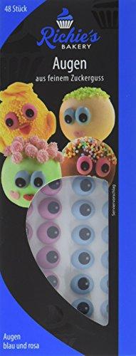(Richie's Bakery Zucker Augen blau und rosa, aus feinem Zuckerguss, 48 Stück, 6er Pack (6 x 9 g))