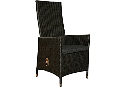 """?Exklusiver Hochlehner Positionsstuhl """"grau-schwarz""""? aus Polyrattan mit verstellbarer Rücklehne inkl. Sitzkissen - Armlehnenstuhl Gartenstuhl Gartensessel Gartenstühle Positionsstuhl"""