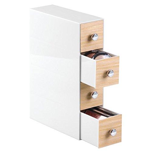 mDesign Organizzatore Cosmetici per Mobile per Tenere Trucco, Prodotti di Bellezza - 4 Cassetti, Ribaltabile, Bianco/Finitura Legno Chiaro