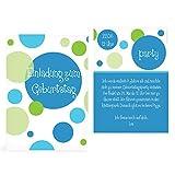 greetinks 80 x Einladungskarten Kindergeburtstag 'Bubbles' in Blau | Personalisierte Geburtstagskarten zum selbst Gestalten | 80 Stück Einladungen Kinder Geburtstag - Jungen & Mädchen