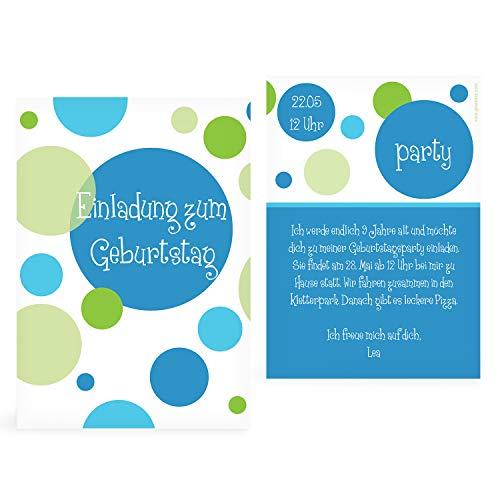 greetinks 10 x Einladungskarten Kindergeburtstag 'Bubbles' in Blau | Personalisierte Geburtstagskarten zum selbst gestalten | 10 Stück Einladungen Kinder Geburtstag - Jungen & Mädchen (Einladungen Kinder-geburtstag Personalisierte)