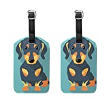 COOSUN Dog Dachshund Luggage Tags Travel Labels Tag Name Card Holder for Baggage Suitcase Bag Backpacks, 2 PCS