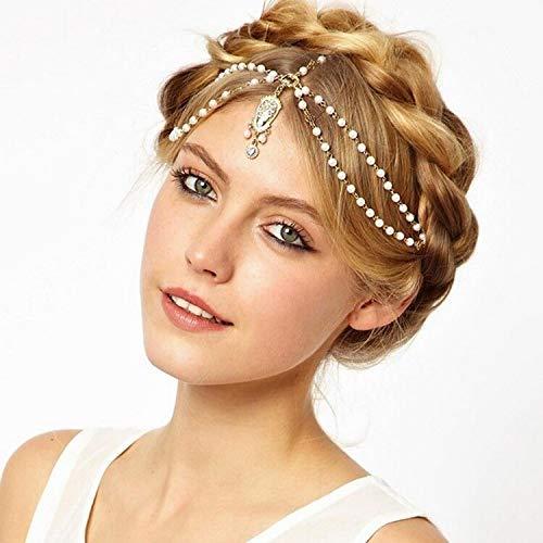 LFDHG Haardekoration Haarband Kopf Kleid Stirnbänder Mode indische Boho weiß/rot Perlen Kopf Stück Frauen Kopf Kette Haarschmuck weiß
