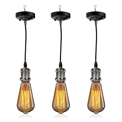 GreenSun LED Lighting 3 Set Retro E27 Lampenfassung Lampensockel E27 Fassung Halter mit Kabel + E27 ST64 Edison Warmweiß Glühbirne als Hängeleuchte Deckenleuchte Adapter Beleuchtung Sockel, Schwarz