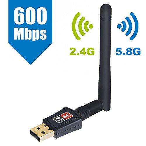 Maxesla Adaptador WiFi USB inalámbrico CA de Doble Banda 24/5 GHz, 600 Mbps, para Ordenador/Portátil/Tableta, Compatible con Windows 10/8/7/Vista/XP/2000, Mac Os X 10.4-10.11.4 y 10.12.1