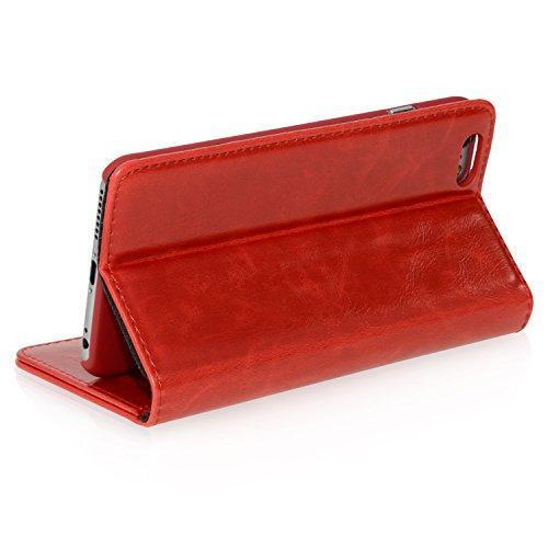 """Logic-Seek Case für iPhone 6 Plus (5,5 Zoll) Hülle Leder Flip Cover Schutzhülle - Braune Lederhülle im Book-Style mit Standfunktion und Kartenfach für Apple iPhone 6 Plus (5,5"""") - Braun Rot"""