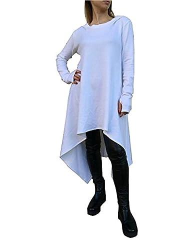 Minetom Damen Hoodies Pullover Unregelmäßige Strick Hoodies Oversize Langarm Pullikleid