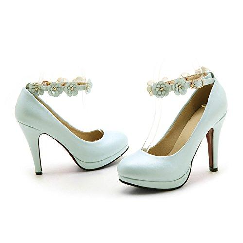 YE Damen Elegant High Heels Ankle Strap Runde Geschlossen Pumps mit Plateau und Blumen Schnalle Kleid Schuhe Hellblau