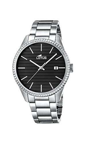 Lotus Unisex Quartz Watch with Black Dial Analogue Display and Silver Stainless Steel Bracelet 18299/2