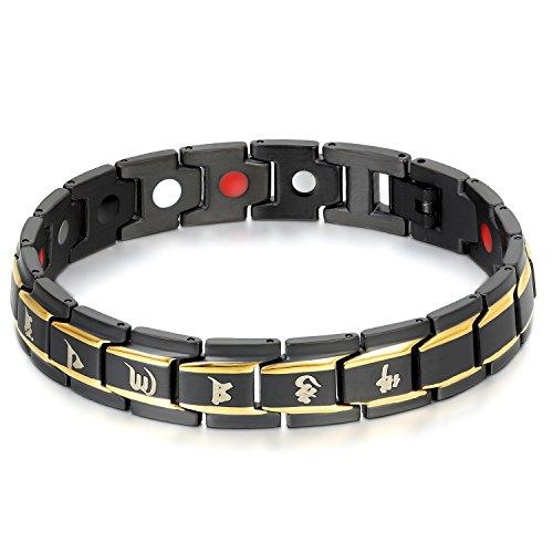 JewelryWe Schmuck Herren Armband, Buddhistische Mantra Magnetarmband, Magnet Edelstahl, Gold Schwarz