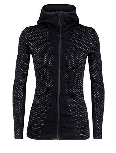 Icebreaker Damen Elemental LS Zip Hood Crystal Fleecejacke, Black, M Heavyweight Long Sleeve Sweatshirt