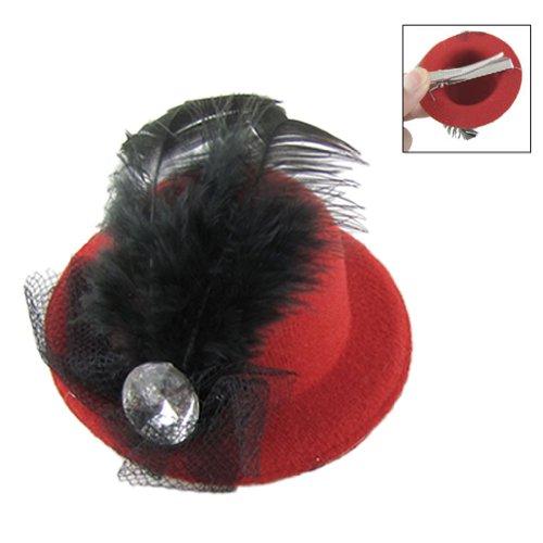 TOOGOO(R) Femmes Parti strass Decor Plume noire rouge chapeau Mini Haut Cheveux clip fascinateur
