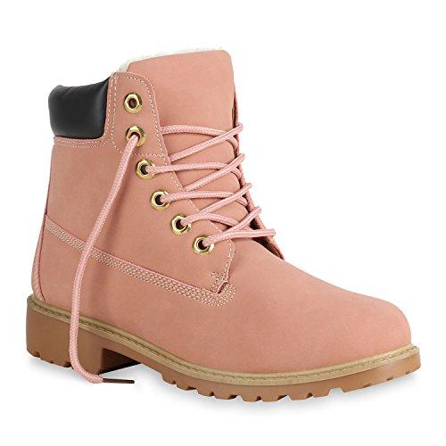 Damen Stiefeletten Outdoor Worker Boots Warm Gefütterte Schuhe 152075 Rosa 40 Flandell