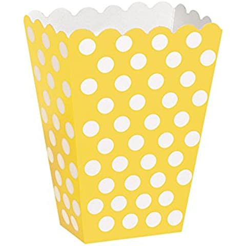 8 x, design a scatolina regalo, motivo a pois, con porta sacchetti di carta per feste, colore: giallo