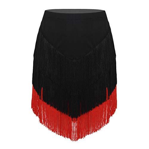 Freebily Damen Latein Rock mit Quasten Tango Rumba Dancewear Ballroom Fransen Tanzrock mit Shorts Innen Schwarz&Rot Medium