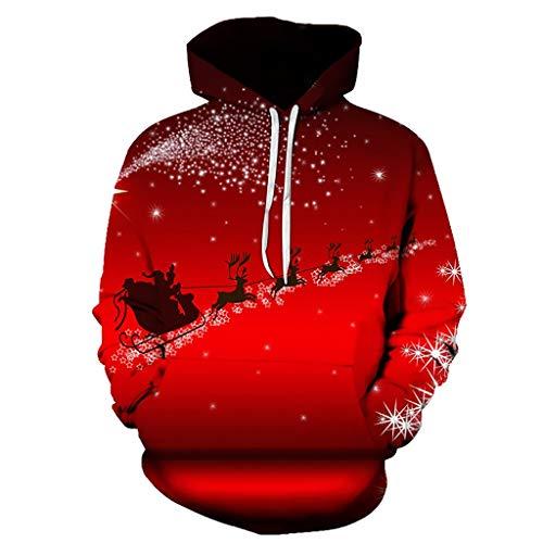 HZ-yifu Unisex Modisch Kühle Pullover Kapuzen-Sweatshirt 3D-Druck Flying Santa Muster Red Mode Persönlichkeit Outwear mit Großen Taschen (Color : Multi-Colored, Size : XL) -