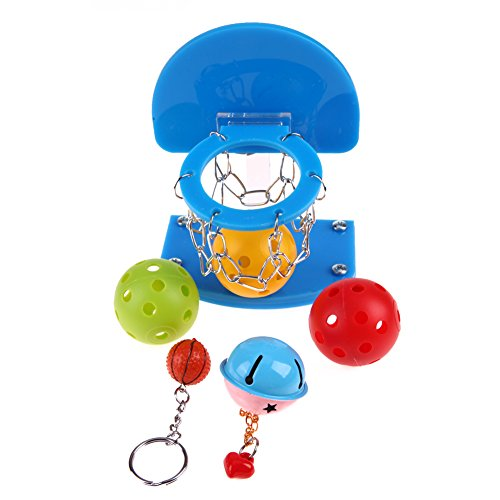 Pet Bird Parrot Toys Kunststoff 1 Mini Basketball Korb + 5 x PET Ball Spielzeug (Basketball-ringer)