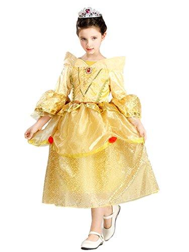 Domiray Mädchen Ballon Kleid gelb gelb Gr. 5-6 Jahre, (Princess Disney Belle Dress Wedding)