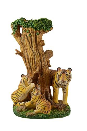 Teelichthalter Baum Tiger mit Kind Katze Skulptur Deko Tier Figur Löwe Windlicht -