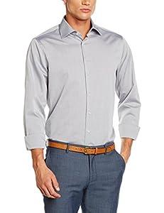 Seidensticker Herren Businesshemd Tailored Fit Langarm mit Kent-Kragen Uni Bügelfrei, Grau (Anthra 32), Kragenweite: 39 cm