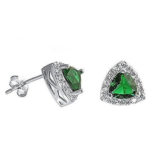 lailie: 6mm Trillion Cut simulé vert émeraude et Halo Fei CZ Boucles d'oreilles en argent sterling 925, 1134